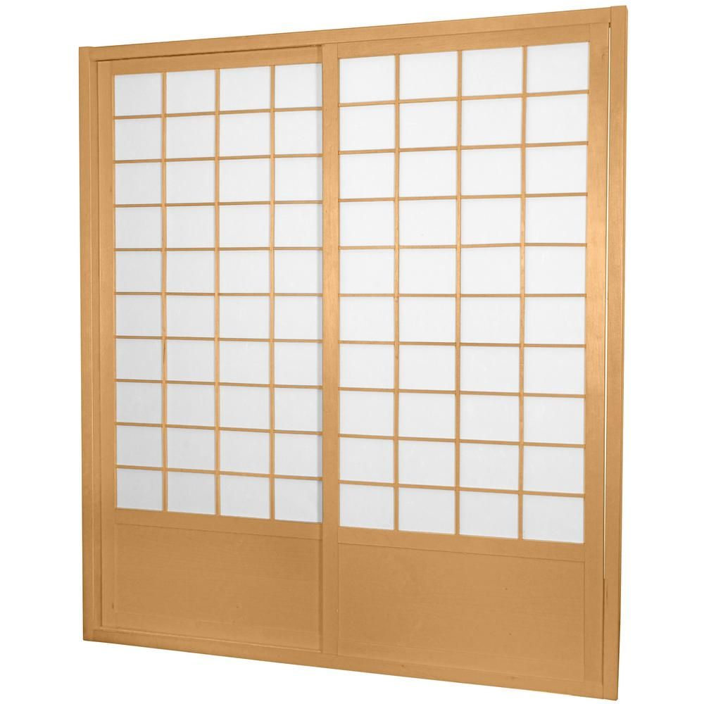 7 Ft Natural Shoji 2 Panel Sliding Door Sliding Door And Products