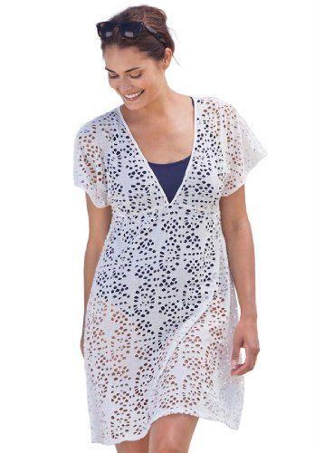 plus size cover-up swimwear in cotton eyelet swim 365 (white,4x