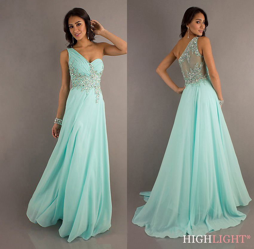 Prom Dress Pale Green with Sparkles