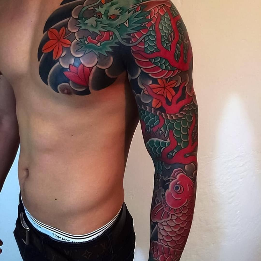 45 Fantastic Dragon Tattoos For Bodyart Click And See Them Japanese Tattoos For Men Dragon Sleeve Tattoos Japanese Tattoo Designs