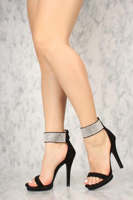 618a4b332d Sexy Black Rhinestone Ankle Strap Single Sole High Heels Faux Suede ...