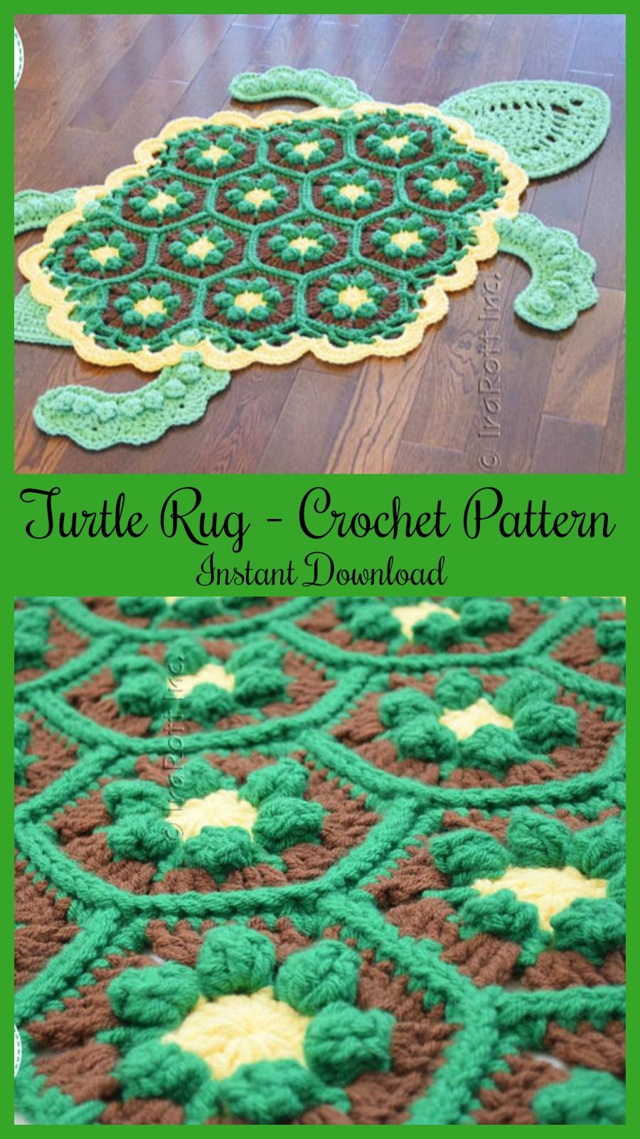 Turtle animal rug crochet pattern found on etsy instant download ad