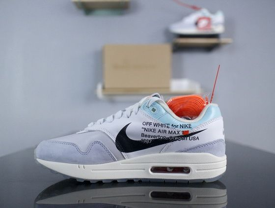 Off White X Nike Air Max 1 White Light Blue Black Aa3827 100