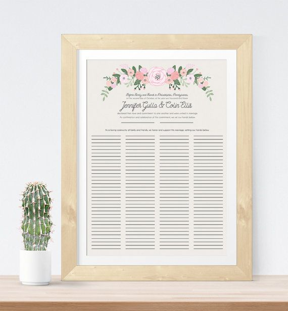 Quaker Marriage Certificate  Wedding Guest Book Alternative