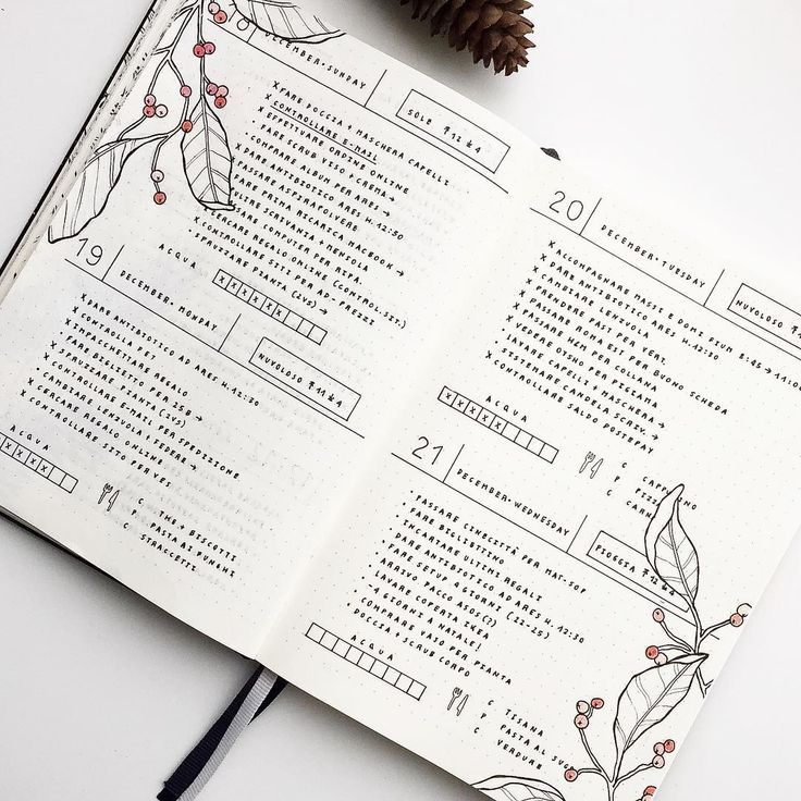 These days  I love this type of layout with 2 days for page because I have more space to write tasks and I can add also the meal plan. In addition I love Christmas and a little bit of red makes everything more magical!