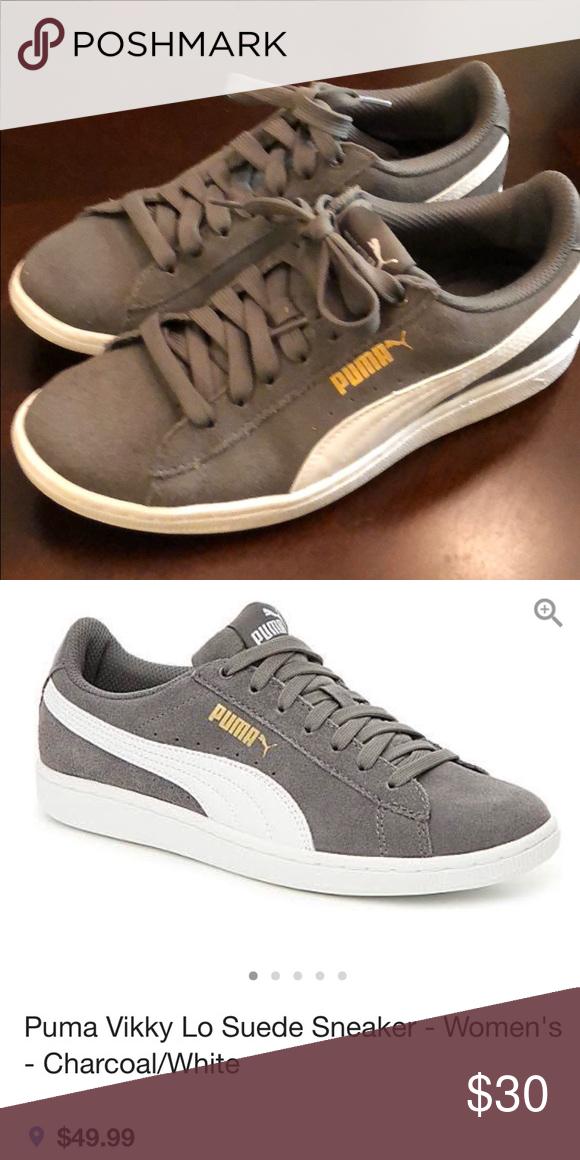 a74d2001d61c Puma sneakers size 6 Puma Vikky Lo Suede Sneaker - Women s - Charcoal White  size 6 Worn twice