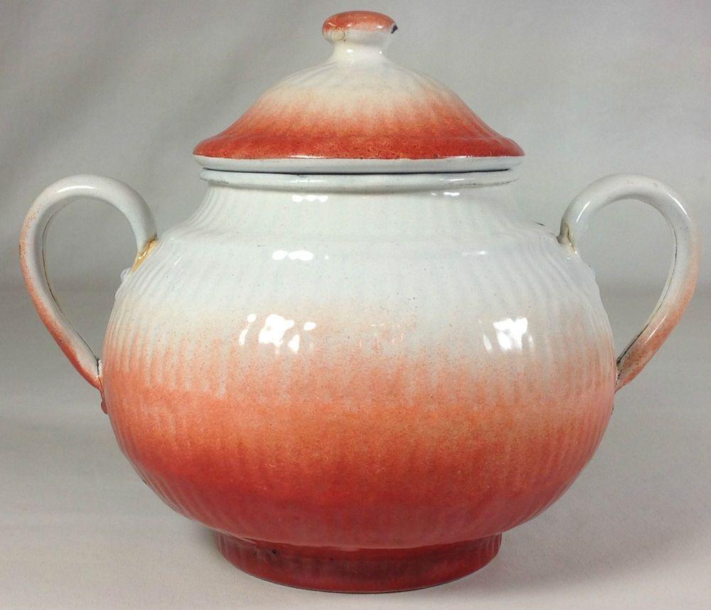 VTG French Enamel Sugar Pot Bowl White Orange Flame Textured 2 Handle Lid Kettle