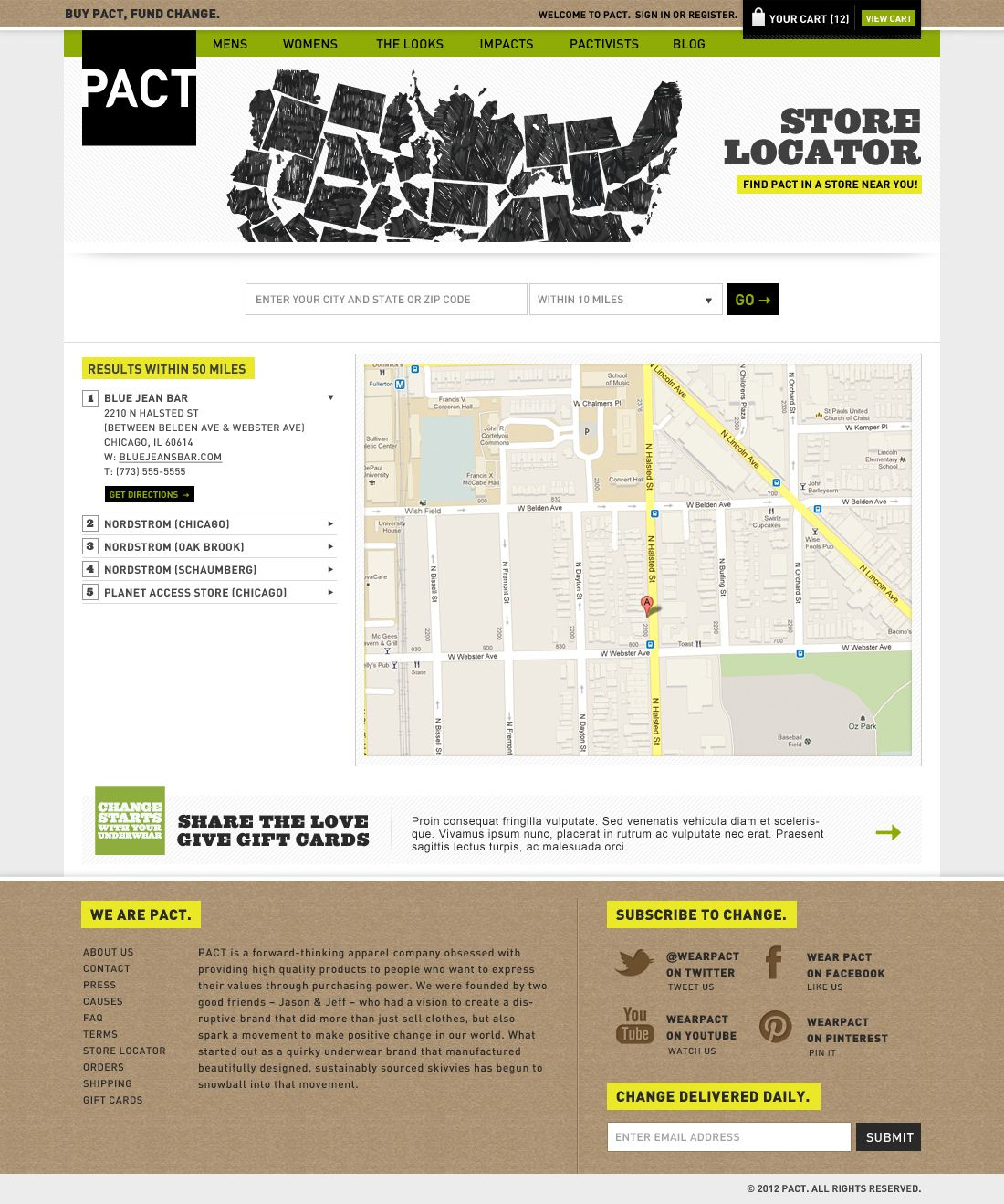 PACT Store Locator page   Ecommerce inspiration, Share the