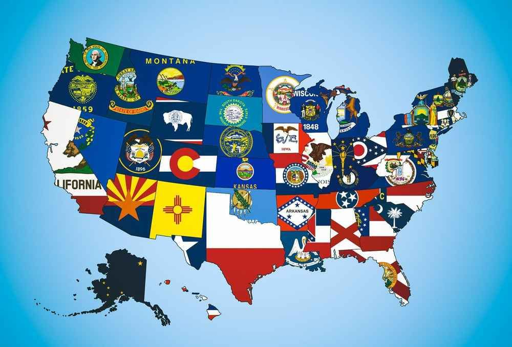 Us Map With Flags A map of the state flags of the US. | Us states flags, State flags