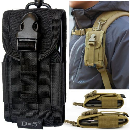 Universal Black Army Belt Loop Hook Pouch Case Cover Holster Bag for Phone UK
