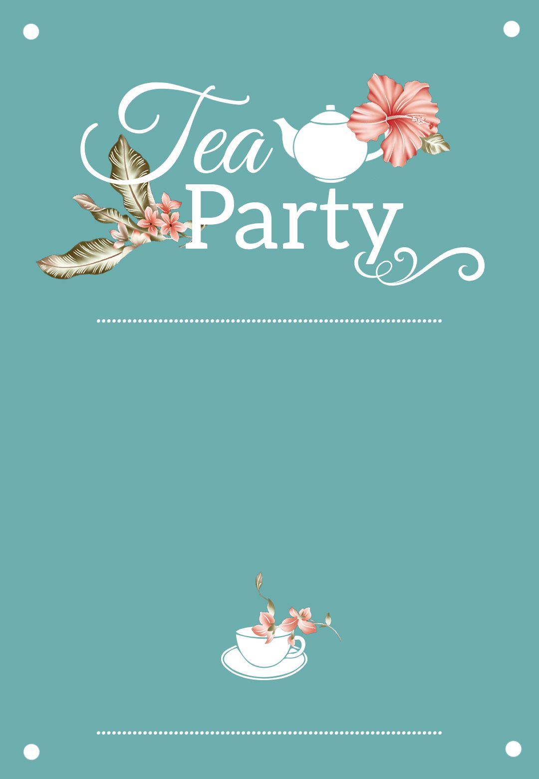 photograph regarding Free Printable Bridal Shower Invitation Templates named Bridal Shower Tea Get together - Free of charge Printable Bridal Shower