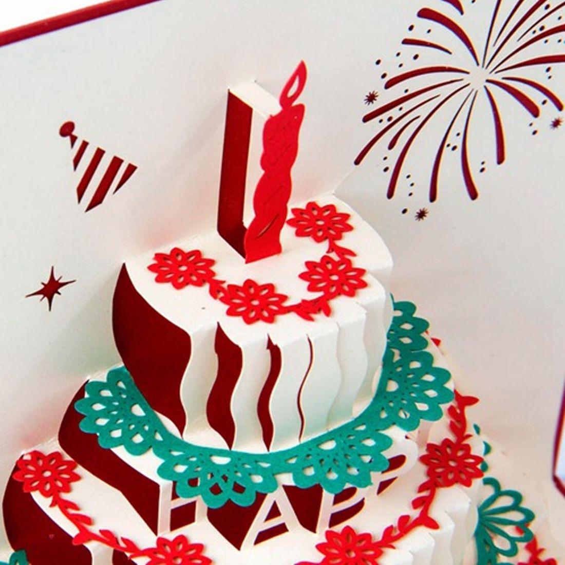 D stereoscopic greeting card handmade gift decoupage birthday cake