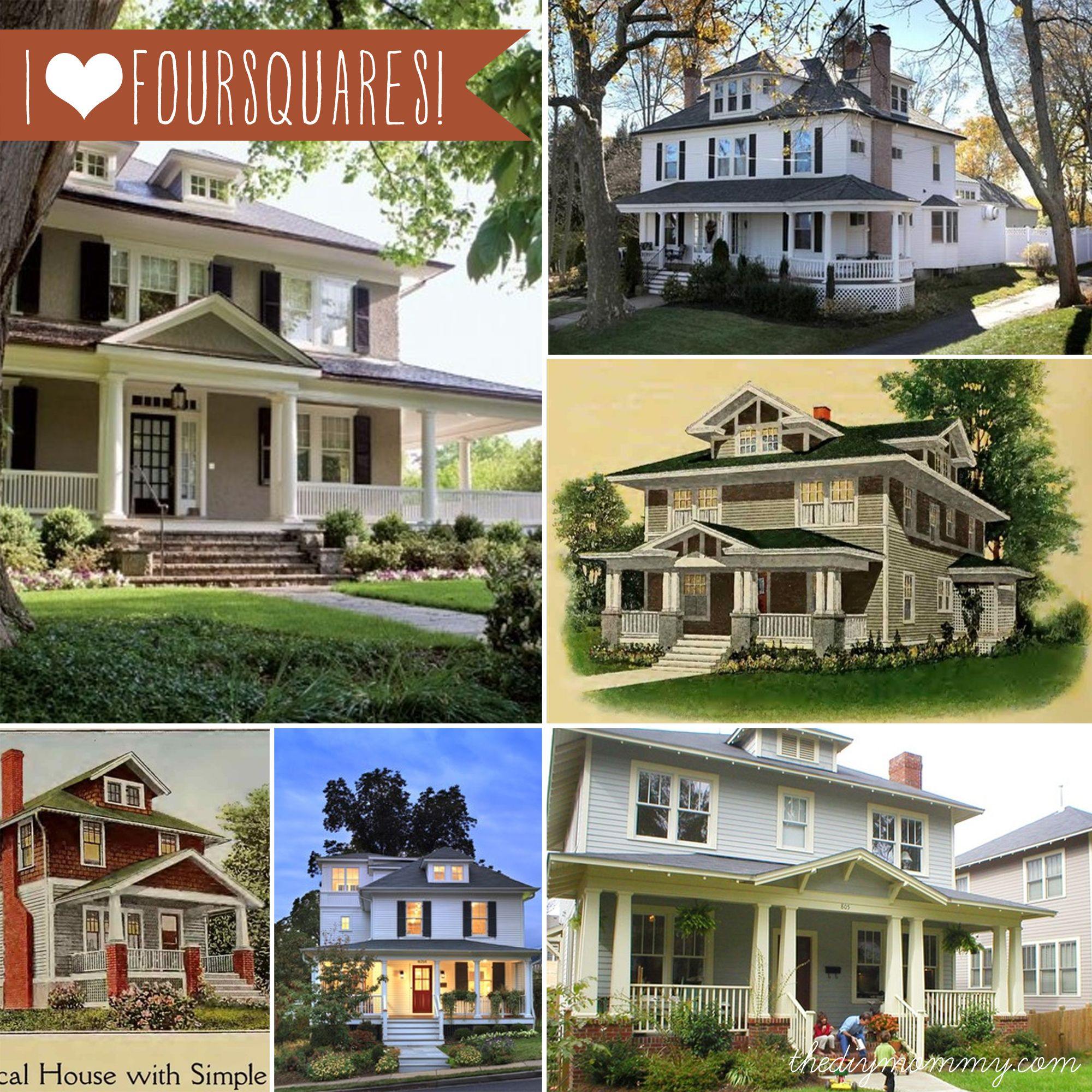 The 25 best foursquare house ideas on pinterest four for Four square house plans with garage