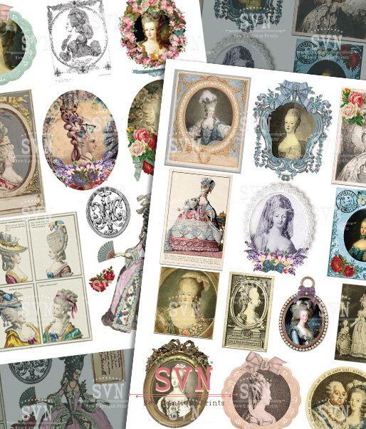 Hoja de Collage Maria Antonieta  24 imágenes por suvenireprints