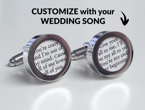 Cufflinks With Wedding Song Printed On Paper Perfect First Anniversary Gift Idea