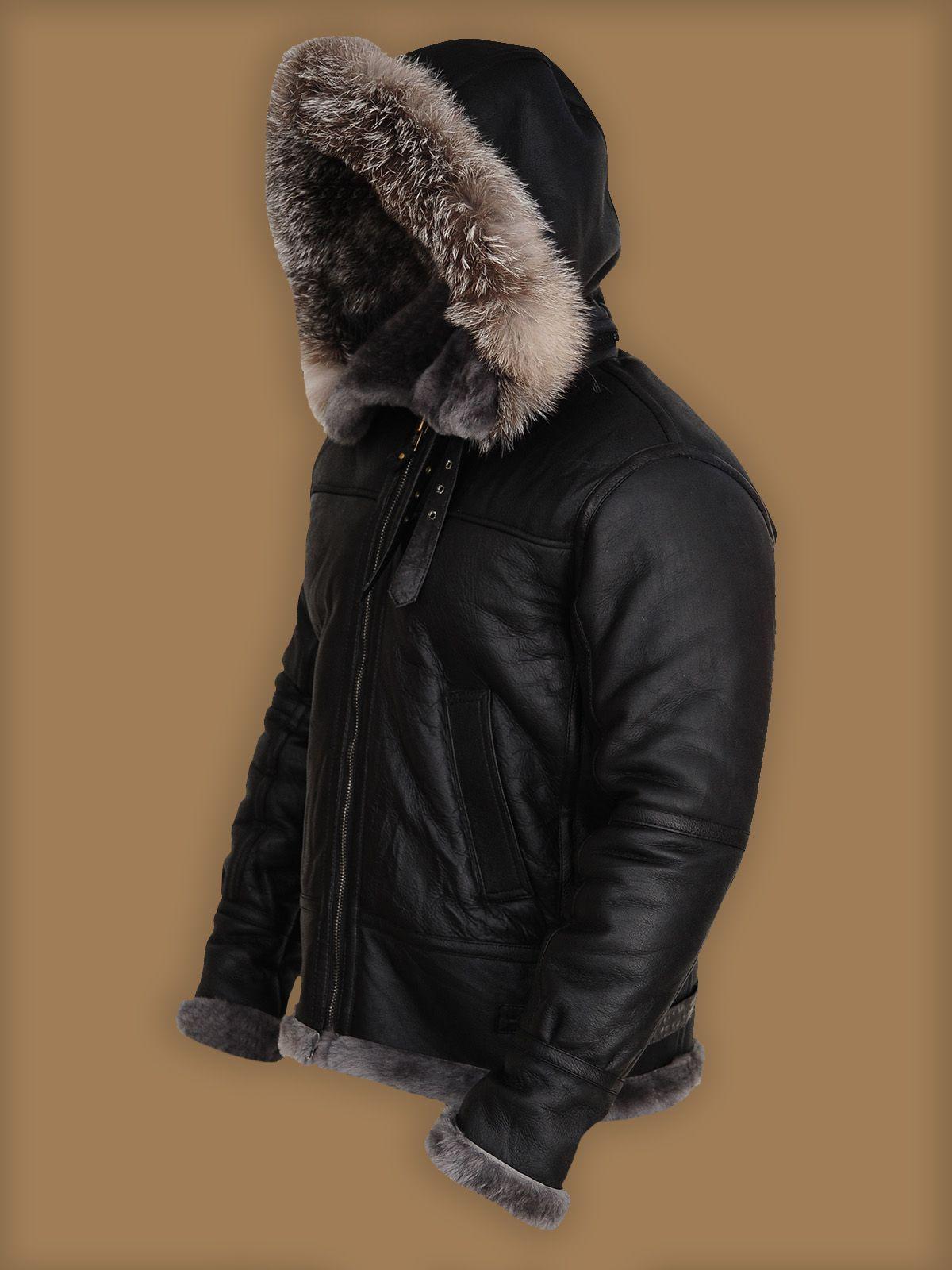 Men Black Shearling Jacket With Hoodie Men Jacket Mauvetree Black Shearling Jacket Shearling Jacket Vintage Leather Jacket [ 1600 x 1200 Pixel ]