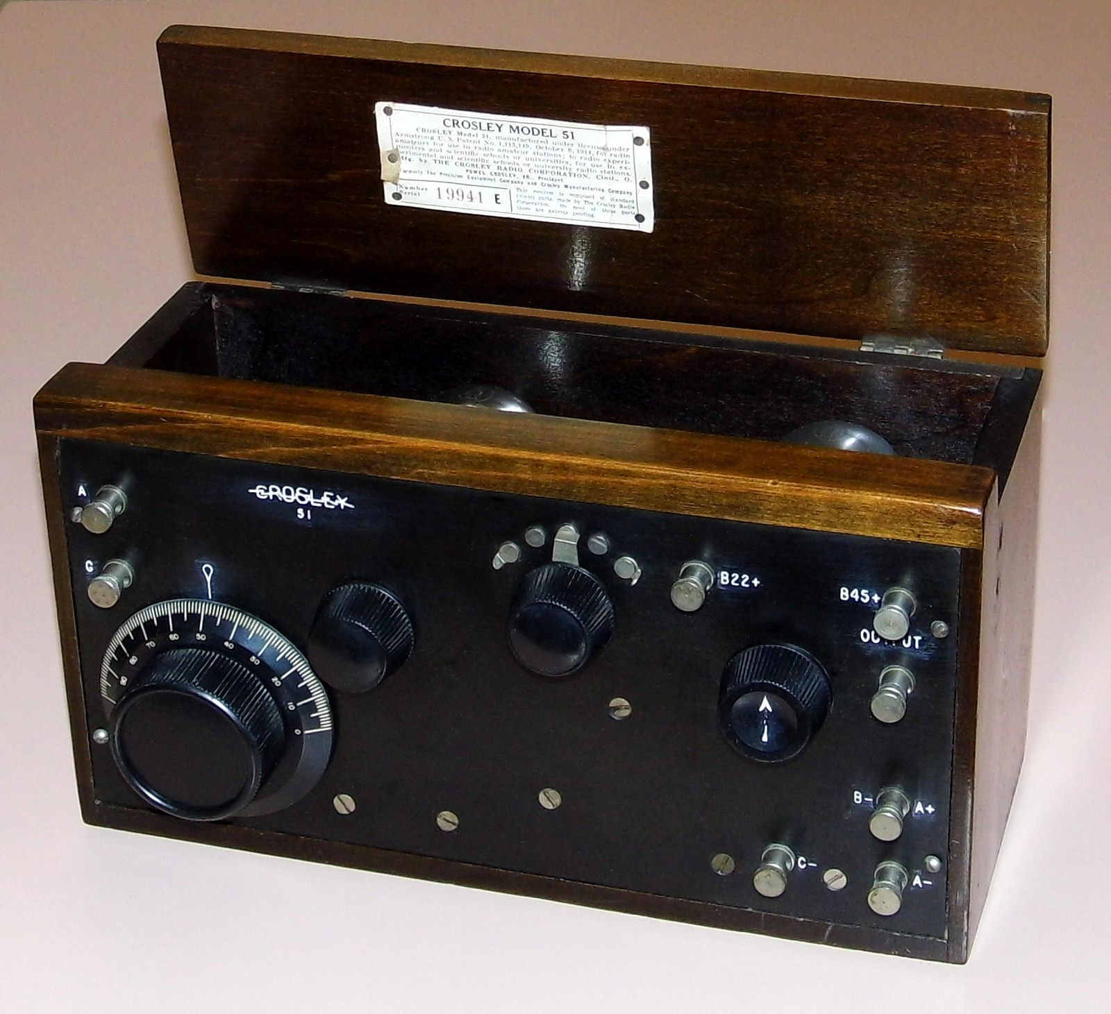 Vintage Crosley Radio Receiver Model 51 Two Vacuum Tube Regenerative Receiver Requires External Speaker Headphone Made In Usa Circa 1924 Radio Vacuum Tube Vintage Radio