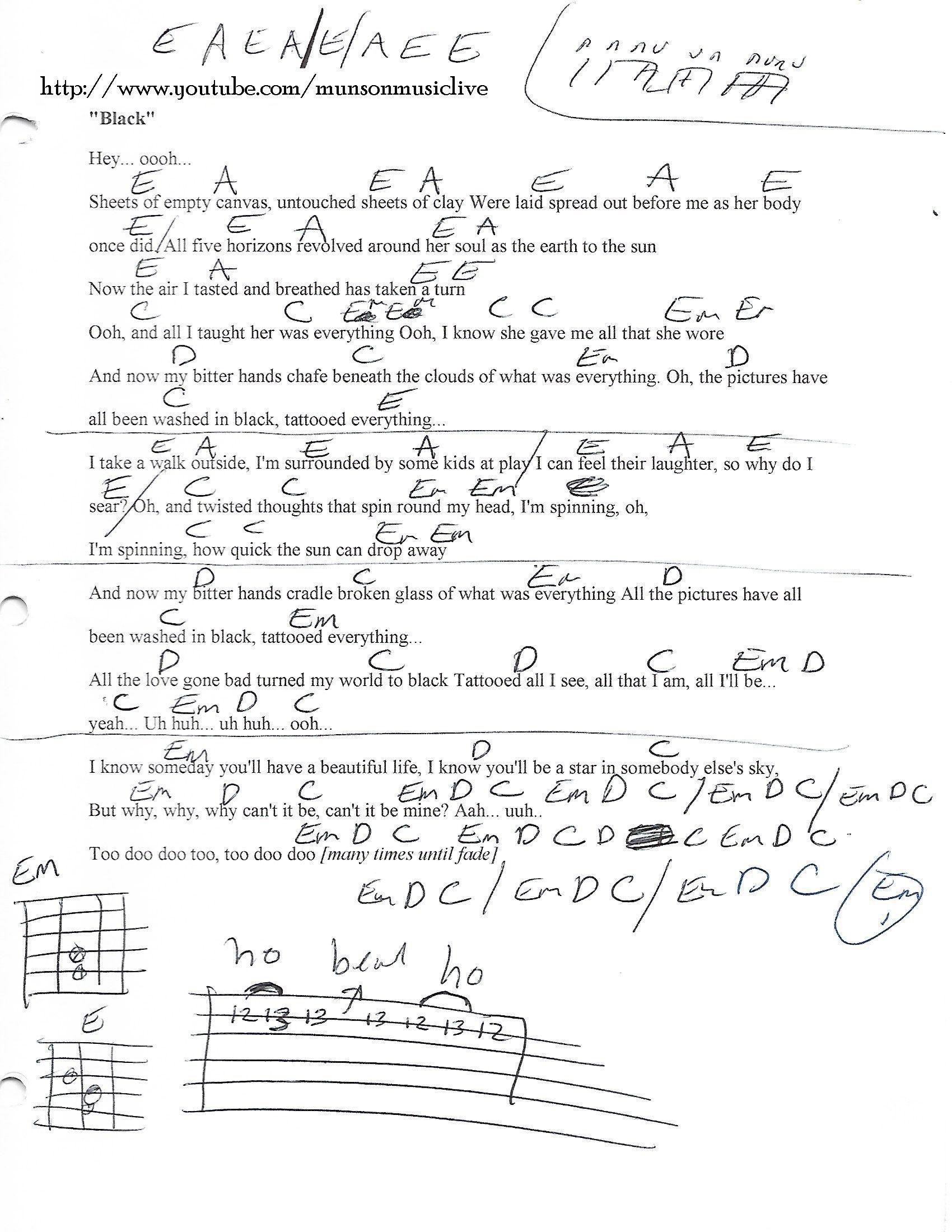 Black Pearl Jam Guitar Chord Chart Bassguitarquotes Best Bass