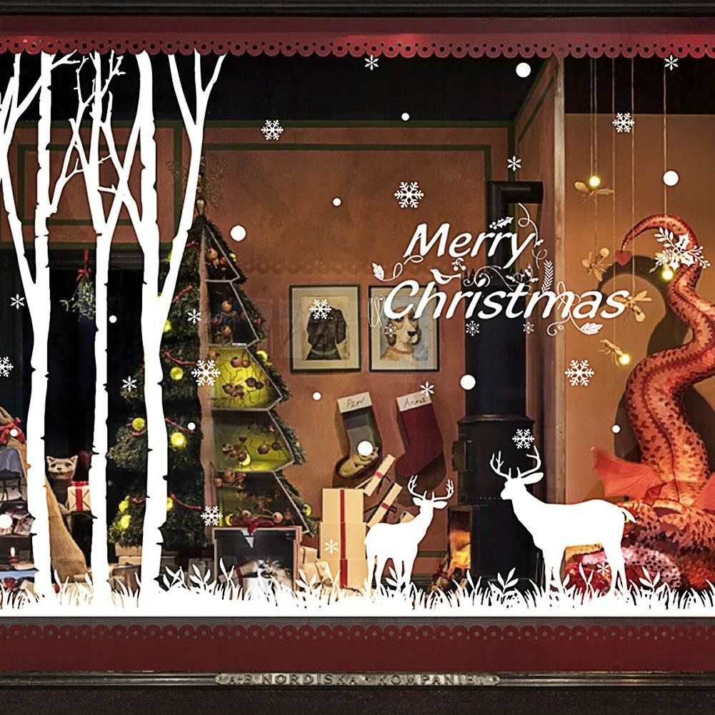 Christmas Window Stickers Removable Wall Decals DIY Home Decor Glass Door  Decal Showcase Stickers Decoration For Christmas New Year(Elk)