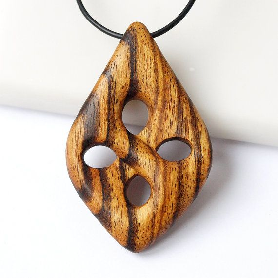 Wood necklace Wood pendant Wood jewelry Bocote necklace by BDSart