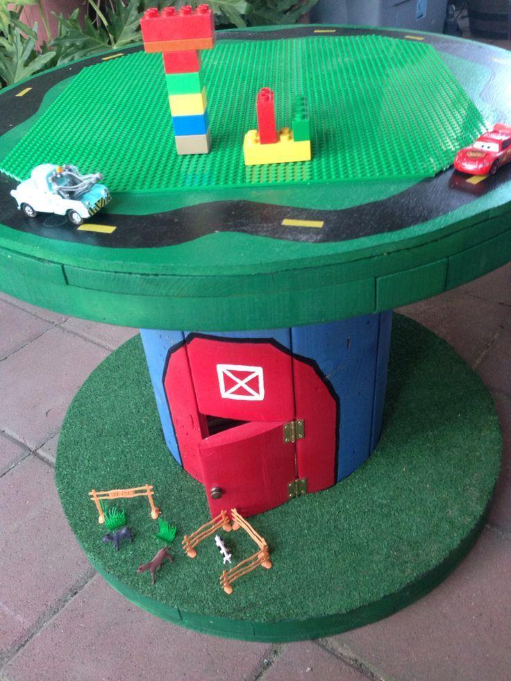 Kinderkabeltischentisch - Holz Tisch DIY #cablespooltables