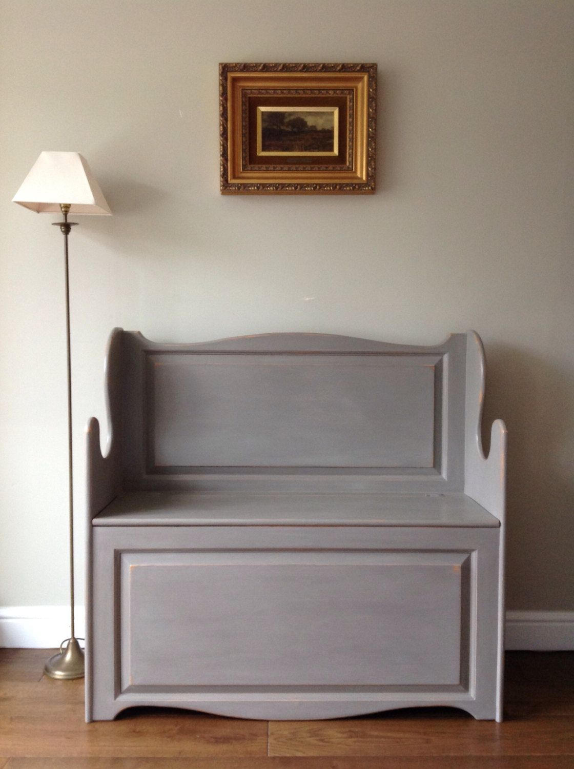 now sold solid pine hall monku0027s bench settle pew hand painted grey storage shabby