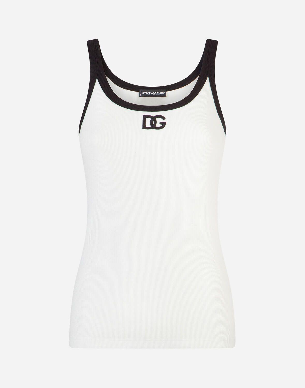 """Sky Blue Dolce /& Gabbana Stretch Cotton /""""DG/"""" Logo Men/'s Vest Top"""