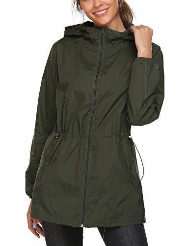Zeagoo Women s Lightweight Raincoat Windbreaker Waterproof Hooded Running Rain  Jacket 99279ccf31