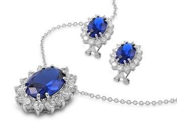 Kate Middleton Inspired Sapphire CZ Pendant & Earring Set #CubicZirconia