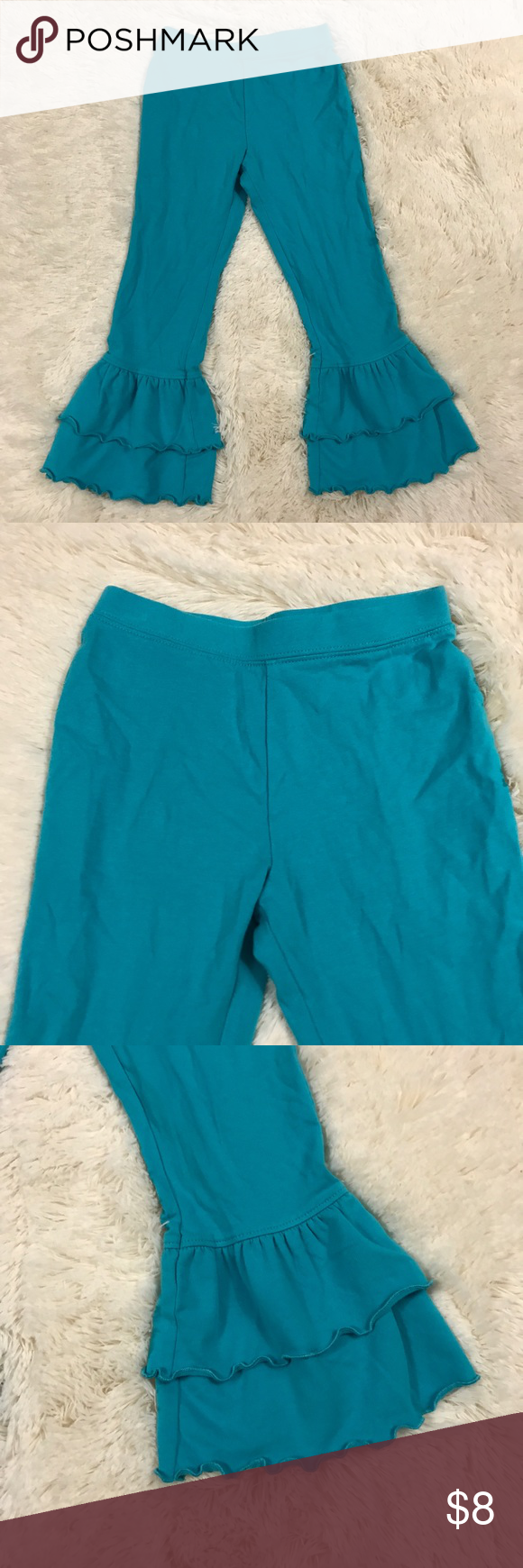 Girls Size 5 Bell Bottom Leggings Girls size 5 blue J. Khaki bell bottom stretchy leggings. 95% cotton, 5% spandex. Bottoms Leggings