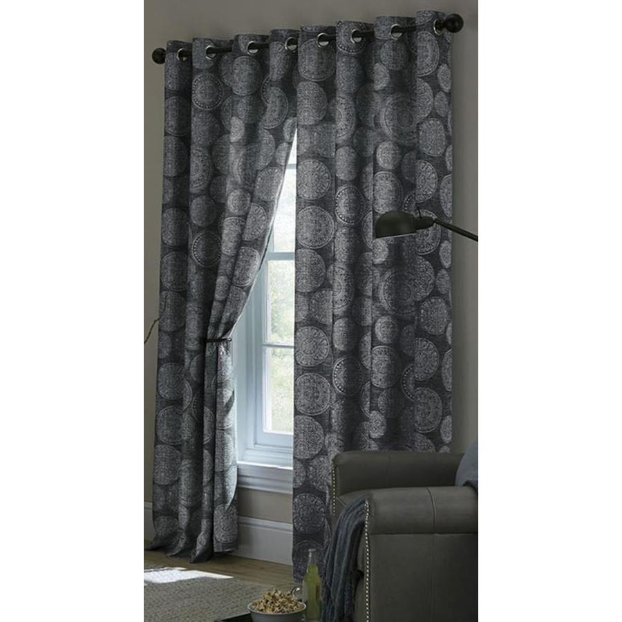 Allen Roth Marina 63 In Indigo Polyester Grommet Room Darkening