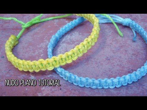 ce6e2924c457 Como hacer una pulsera de hilo ✧* NUDO PLANO (Macrame) - YouTube ...