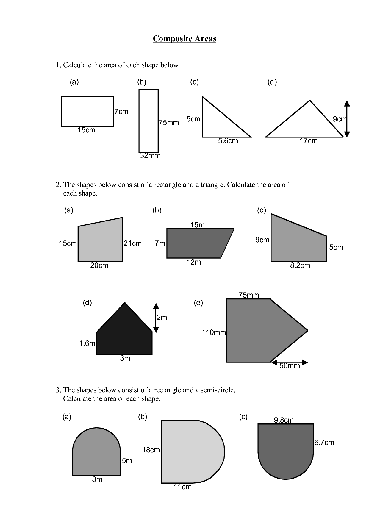 Area Of Compound Shapes Worksheet