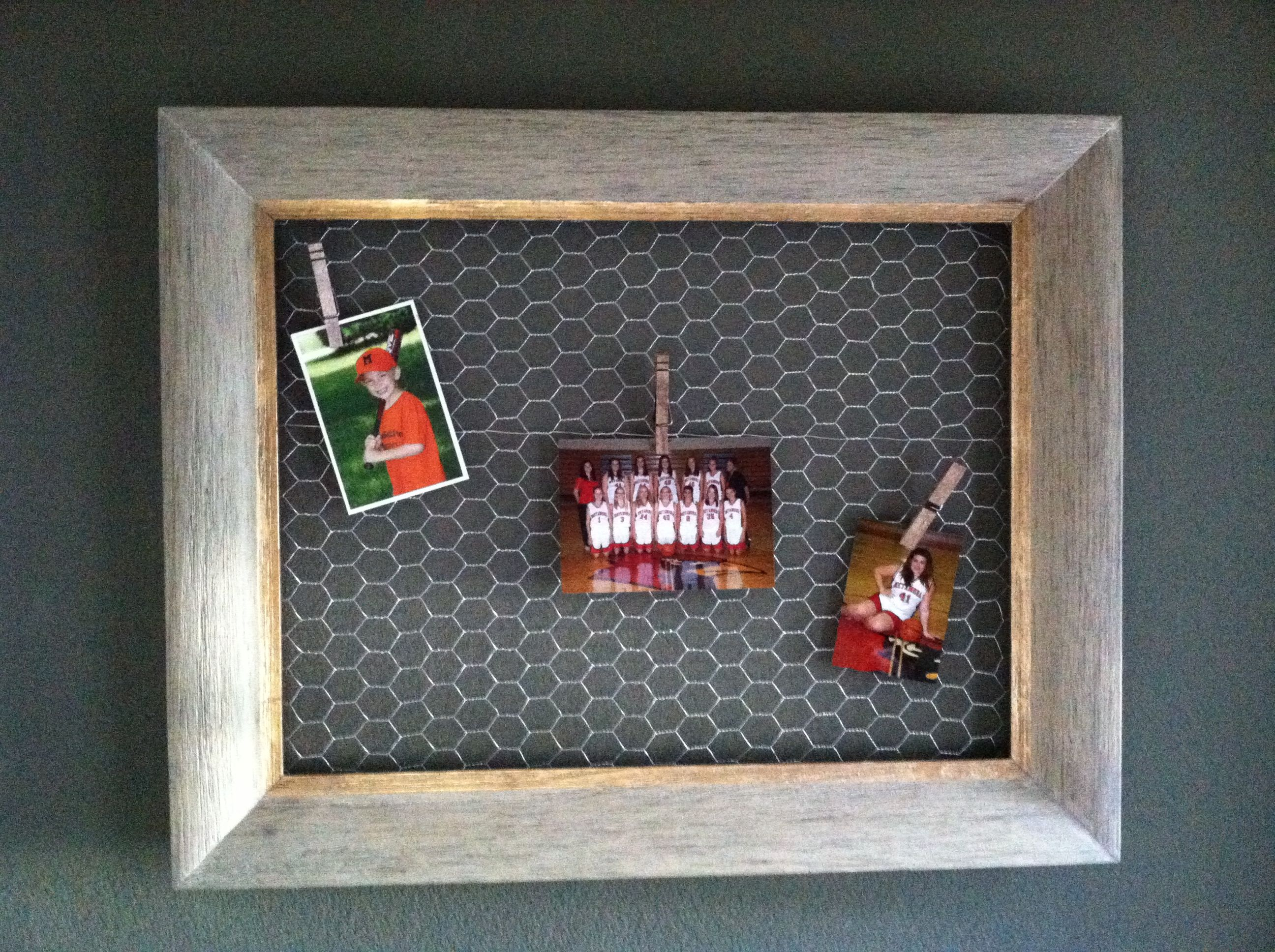 Country memoboard... Hobby Lobby frame, chicken wire, stapled to it ...