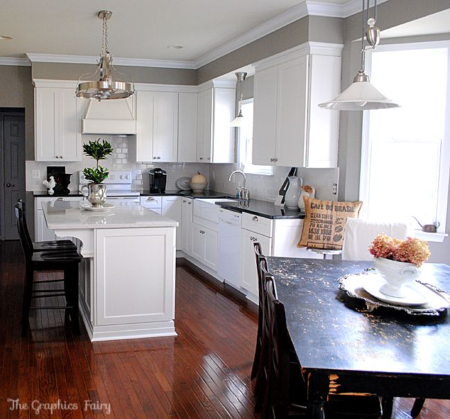 White Kitchen Makeover: Kitchen Renovation Home Depot @Karen Jacot   The  Graphics Fairy @