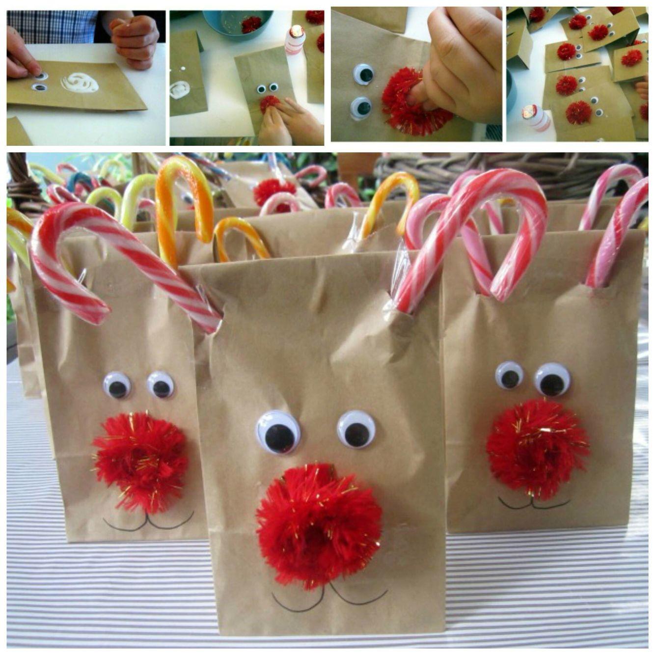 Christmas Treat Bags For School Reindeer Treat Bags Preschool Christmas Christmas School Christmas Treat Bags