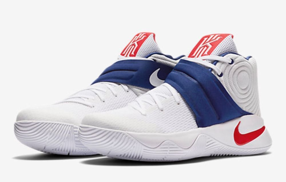 2d6786e151d2 Nike Kyrie 2 USA Mens Basketball Shoes 11 White Red Blue 819583 164  Olympics  Nike  BasketballShoes