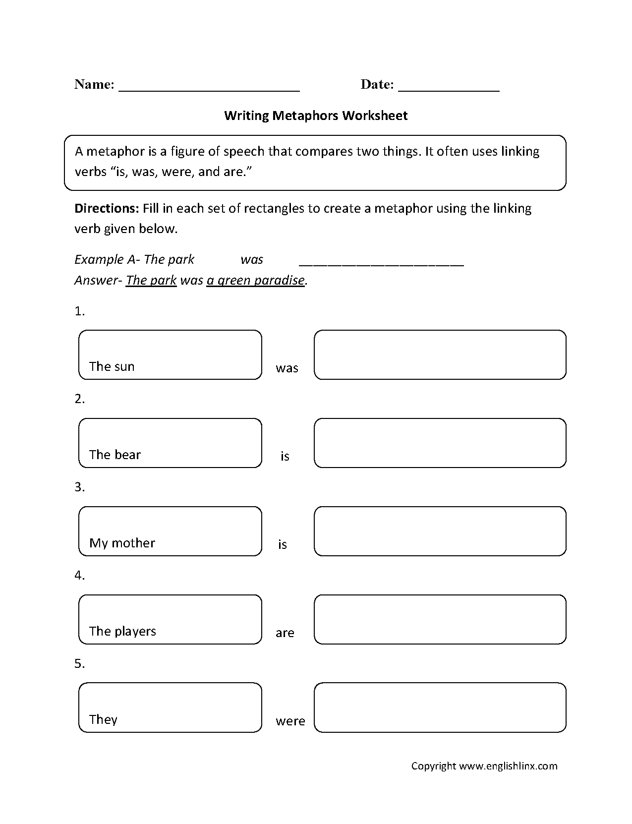 Writing Metaphors Worksheet Part 1 Beginner – Metaphor Simile Worksheet