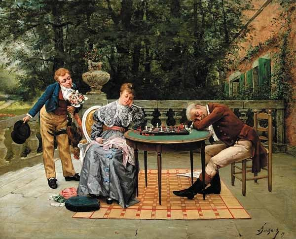 BOICHARD Georges Lucien (?? – ??) The Chess Game. 1889