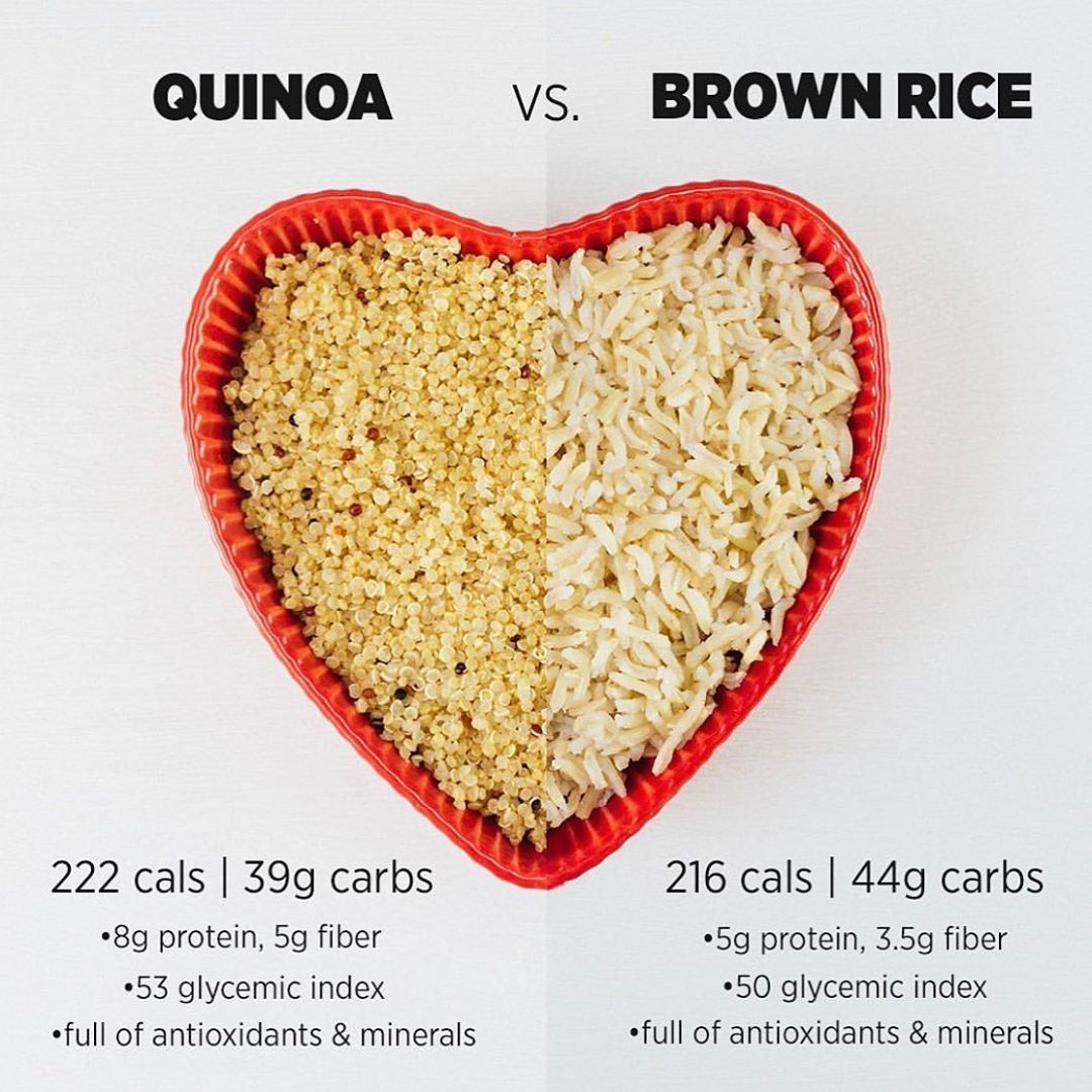 Meowmeix Quinoa Vs Brown Rice Which Side Are You Nutrition Info Is Per 1 Cup Both Are Great Options When Brown Rice Quinoa Workout Food