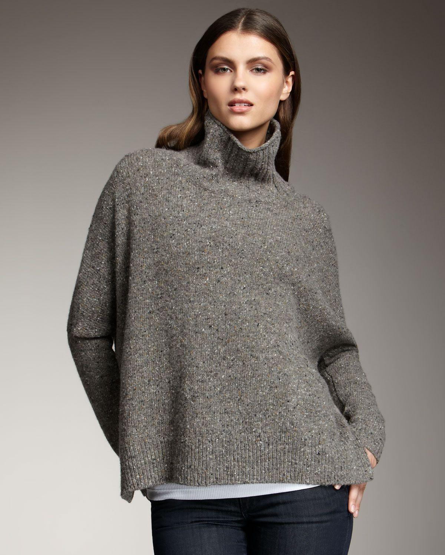 Women's Gray Boxy Knit Sweater, Cinder