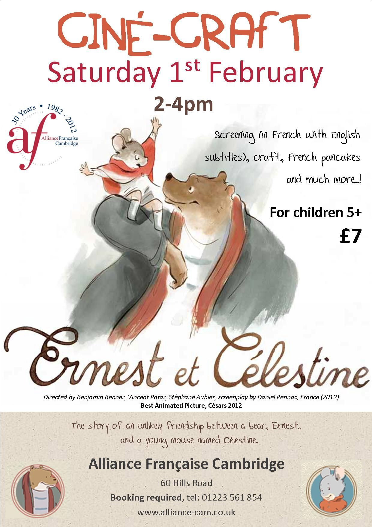 Ernest Celestine Cine Crafts At L Alliance Francaise The Screening In French With English Subtitles Will Be Ernest And Celestine Celestine French Pancakes
