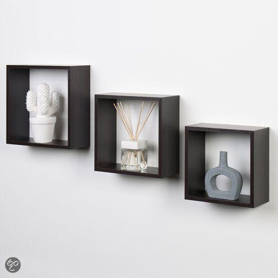 duraline kubussen wanddecoratie set van 3 ebbenhout