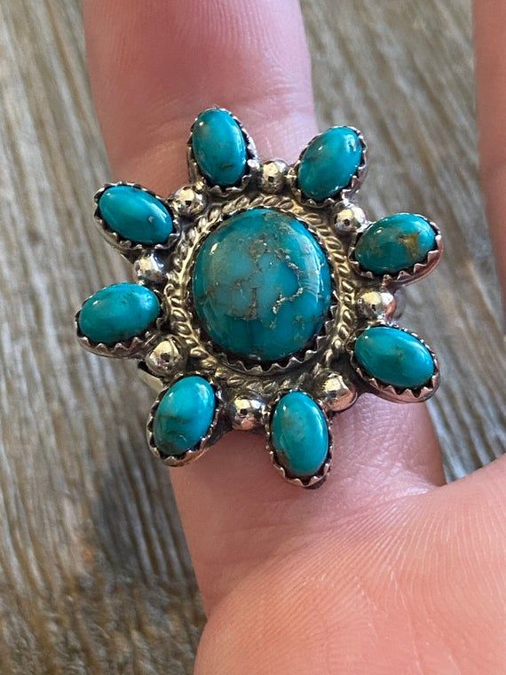 Roberta Begay Turquoise & Sterling Silver Ring Size 8.25. It measures just over 1 inch long and 1 inch wide. Signed by the artist and stamped sterling. Thank you for checking out my store, if you have any questions please contact me!!