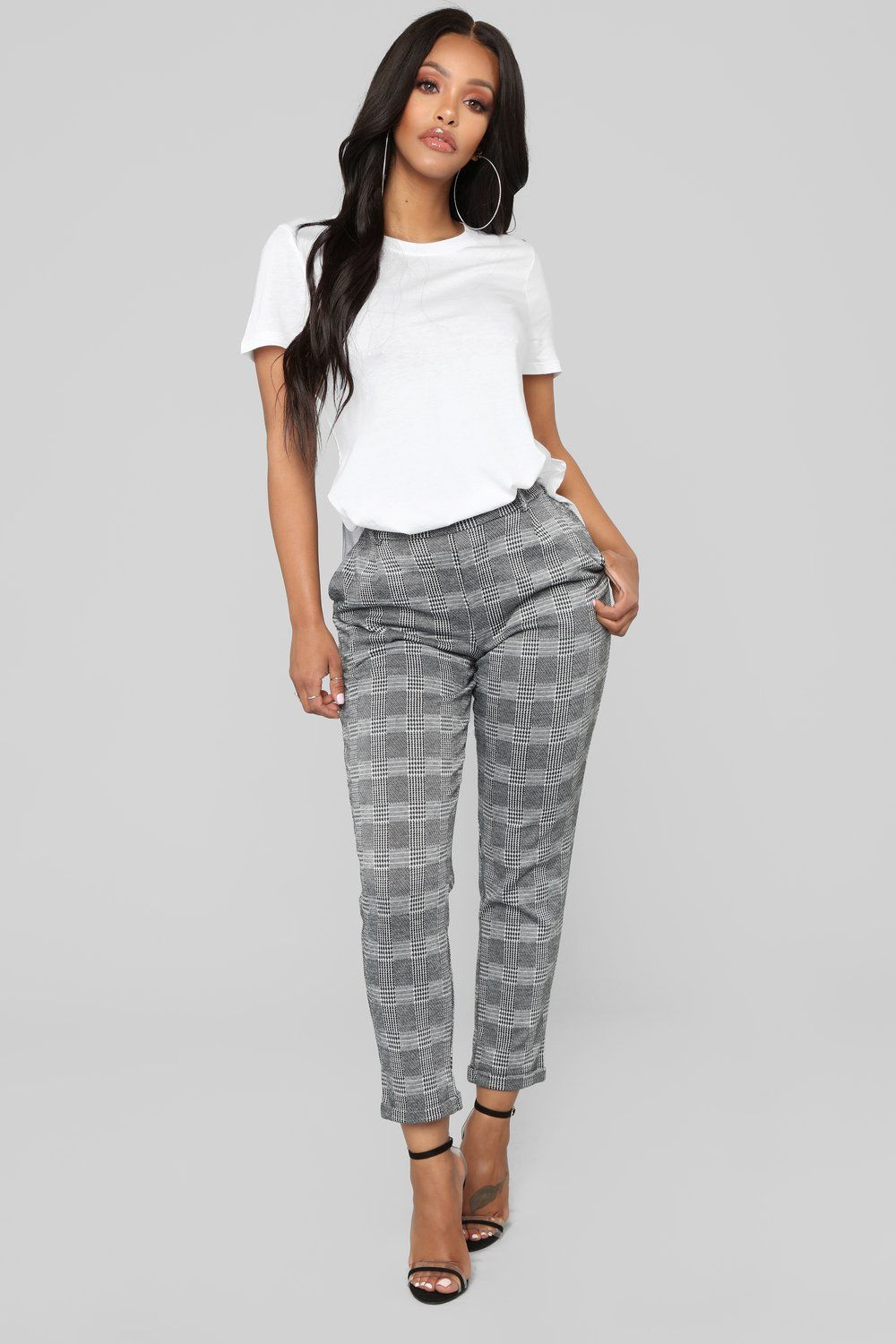 Laid Back Tee White In 2021 Black And White Pants Pants Outfit Work Patterned Pants Outfit [ 1500 x 1000 Pixel ]