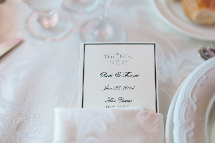 Wedding Menu For A Wedding At The Inn At New Hyde Park Captured By