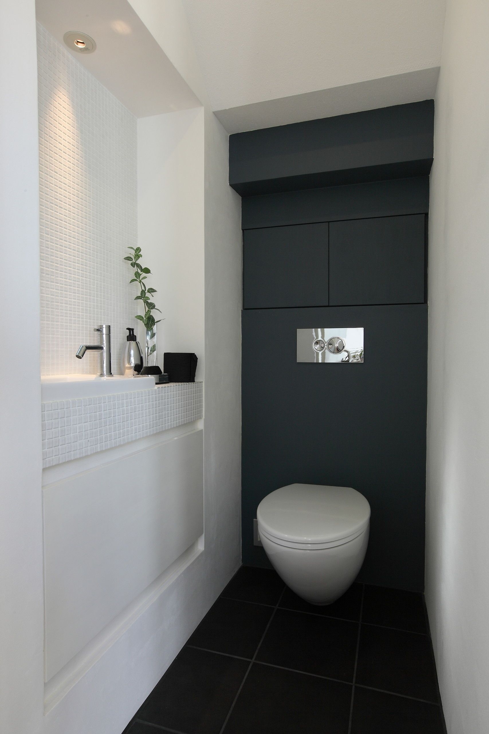 Love the dark back wall and break in the side wall for Modern washroom designs