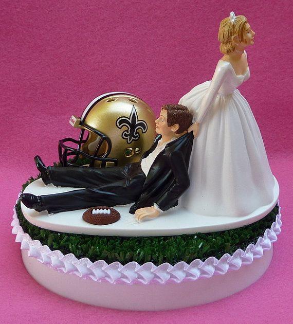 New Orleans Wedding Ideas: Wedding Cake Topper New Orleans Saints Football Themed