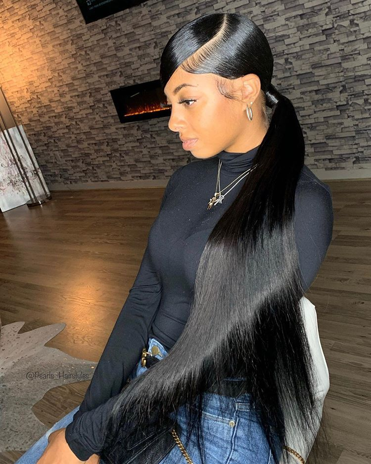 Kim K Ponytail On Bernae Had So Much Doing This Black Ponytail Hairstyles Hair Ponytail Styles Ponytail Styles