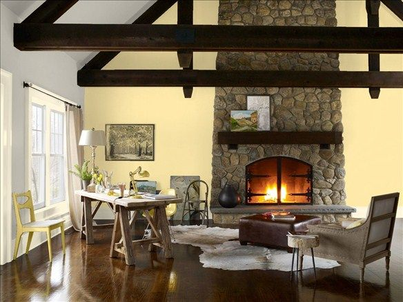 Rustic Living Room! Wall Color: Thunder - Trim Color: Chatsworth ...